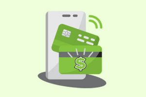 Credit card and phone tapping icon